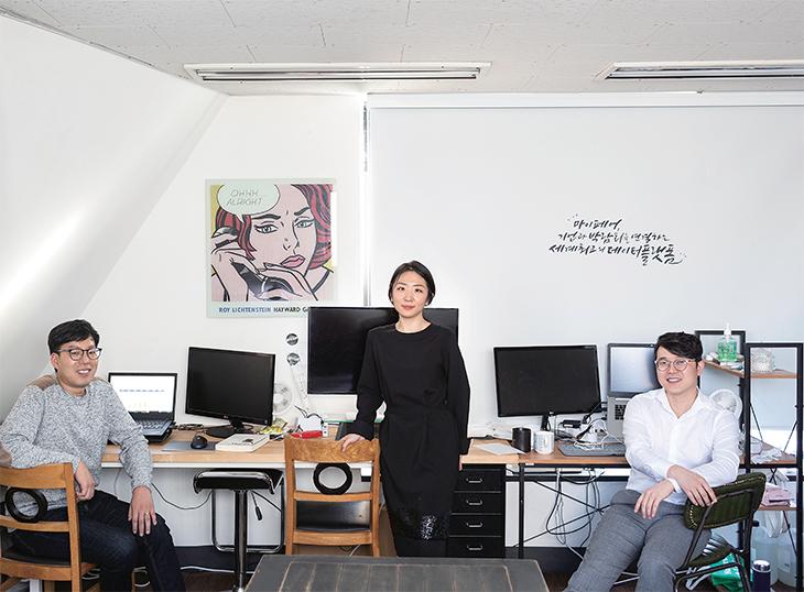 이우선 프로그래머, 김희진 마케터, 김현화 대표