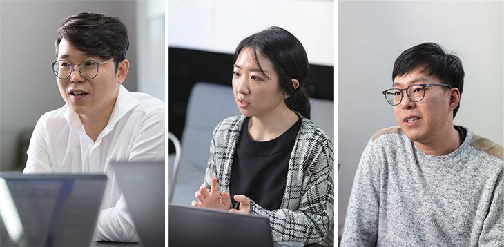 김현화 대표, 김희진 마케터, 이우선 프로그래머