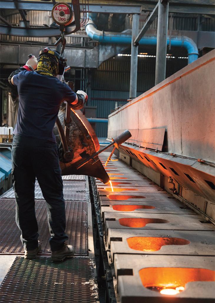삼창주철공업의 생산라인