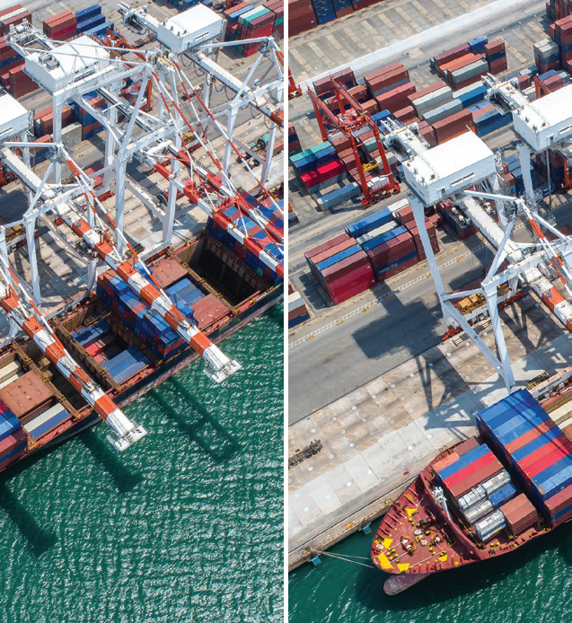 컨테이너가 쌓여 있는 항구 전경