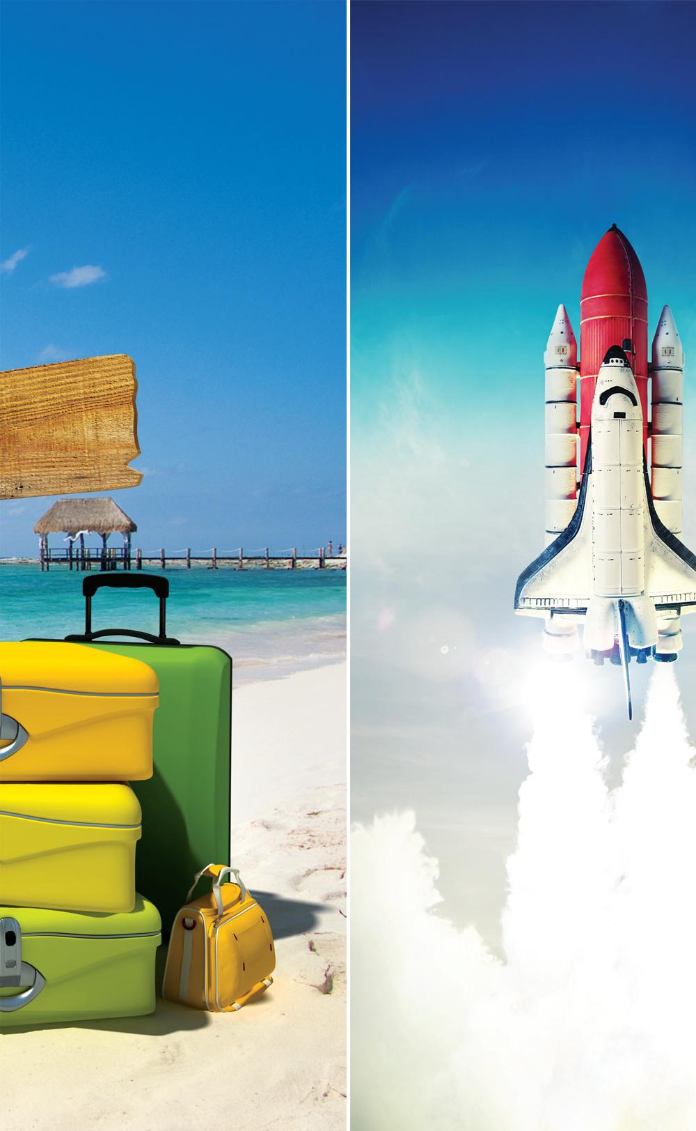 해변의 여행가방 / 이륙하는 우주선